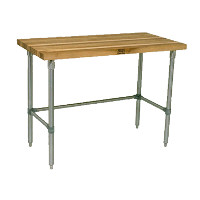 Wood Top Work Tables with Open Base