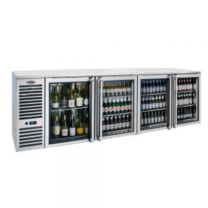 Krowne Metal BS108 Black Vinyl Four Section Self-Contained Back Bar Storage Cabinet