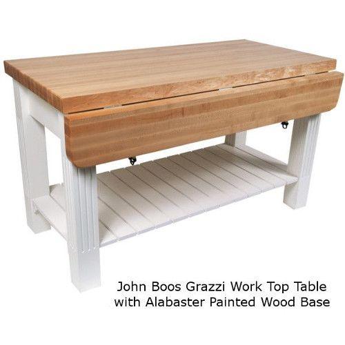 John Boos GRZ6036 Grazzi Work Table / Kitchen Island with Drop Leaf 28\