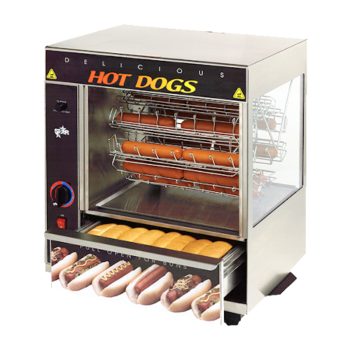 Star 175CBA Hot Dog Broiler/Rotisserie 36 Hot Dog & 32 Bun Capacity