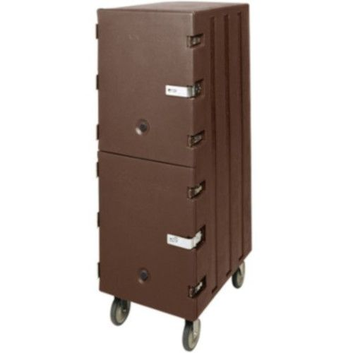 Cambro 1826DBCSP131 Double Cavity Enclosed Camcart w/ Security Package (Dark Brown)