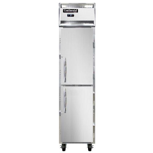 Continental Refrigerator 1FSE-HD 1-Section Slim Line Reach-In Freezer w/ Half Doors