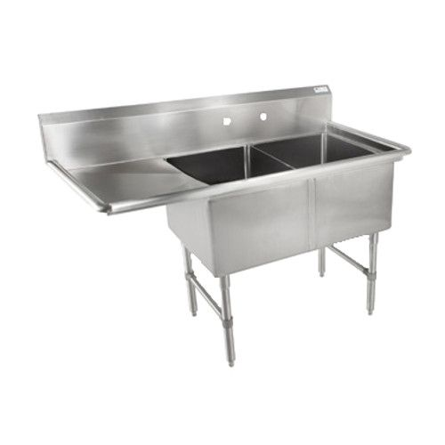 John Boos 2B244-1D24L Two Compartment Sink with 24
