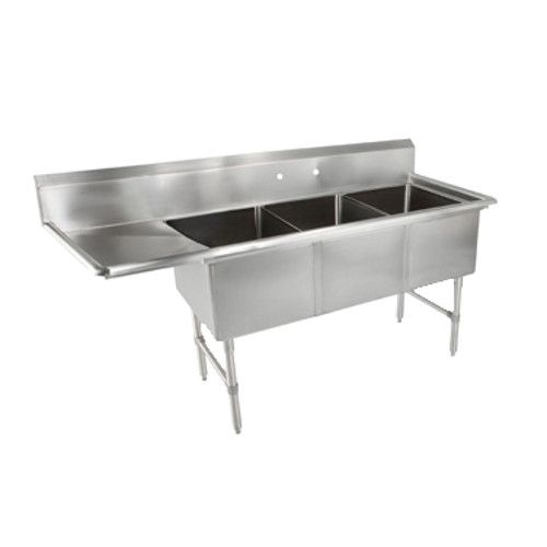 John Boos 3B244-1D24L Three-Compartment Sink with 24