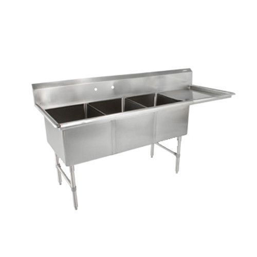 John Boos 3B244-1D24R Three Compartment Sink with 24