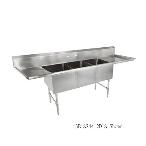 John Boos 3B244-2D24 Three Compartment Sink with Two 24