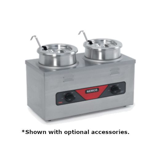 Nemco 6120A-CW-ICL Twin Well Countertop Warmer with Insert, Cover and Ladle