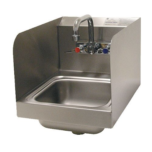 """Advance Tabco 7-PS-56 Wall Mount Hand Sink 9"""" x 9"""" x 5""""w/ Side Splashes"""