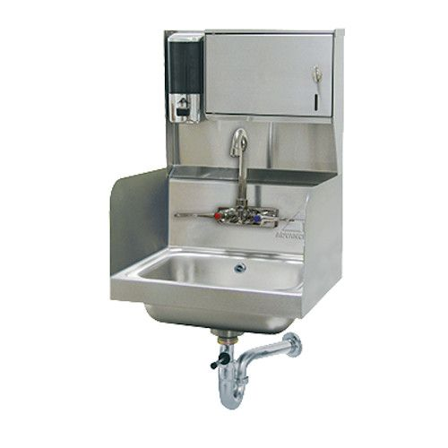 Advance Tabco 7-PS-87 Wall Mount Hand Sink w/ Side Splashes, P-Trap, Soap & Towel Dispenser