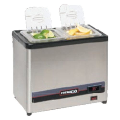 Nemco 9020-2 Cold Condiment Chiller with (2) 1/6 Stainless Steel Pans