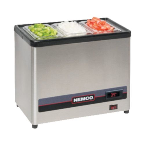 Nemco 9020-3 Cold Condiment Chiller with (3) 1/9 Stainless Steel Pans