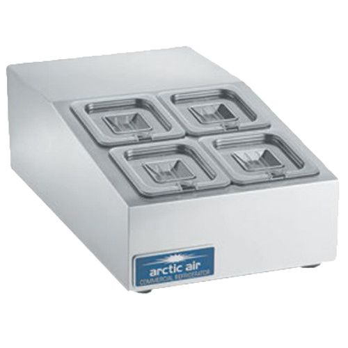 Arctic Air ACP4SQ Compact Refrigerated Countertop Pan Rail with Four 1/6 Stainless Pans and Covers