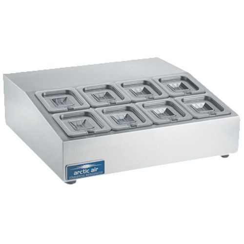 Arctic Air ACP8SQ Compact Refrigerated Countertop Pan Rail with Eight 1/6 Stainless Pans and Covers
