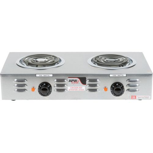 APW Wyott CP-2A Electric Countertop Champion Hotplate with Two Burners