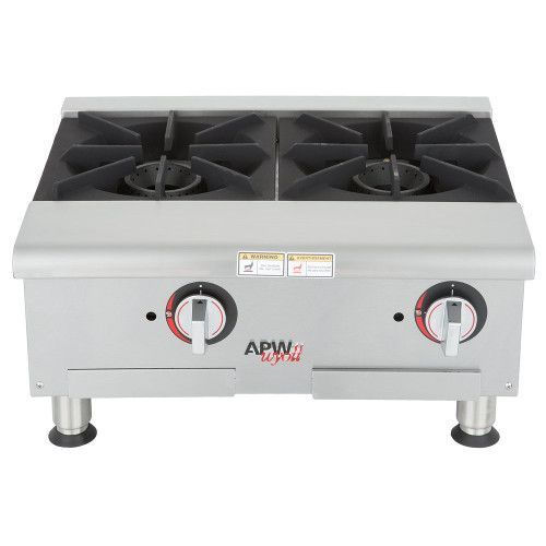 APW Wyott GHPW-2I Gas Wide 2 Burner Countertop Champion Hotplate