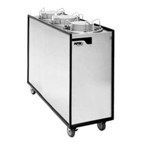 APW Wyott HML3-12A Mobile Enclosed Adjustable II Heated 3 Tube Dish Dispenser
