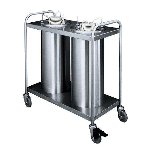APW Wyott HTL2-6 Trendline Mobile Heated Two Tube Dish Dispenser for 5 1/8