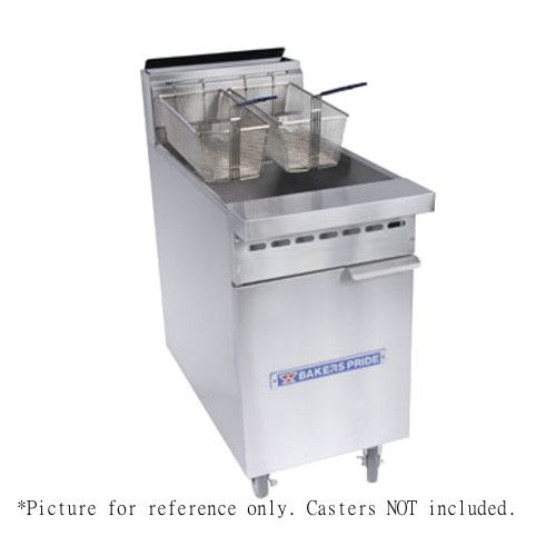 Bakers Pride BPF-4050 Three Burner Gas Restaurant Series Fryer with 40-50 lb. Oil Capacity