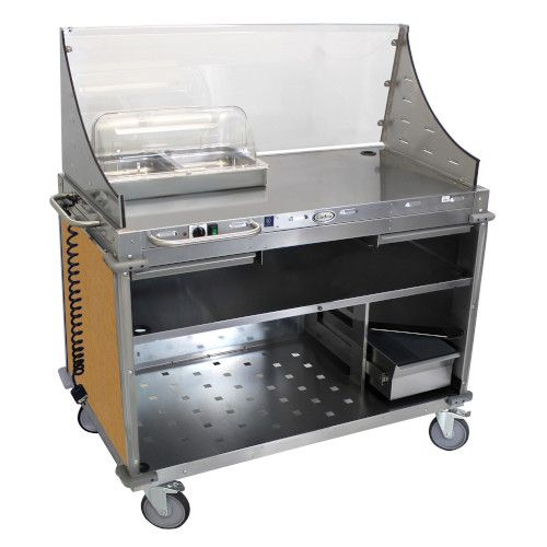 Cadco CBC-DC-L1-D Hot Food Mobile Demo/Sampling Cart with Solid Locking Doors