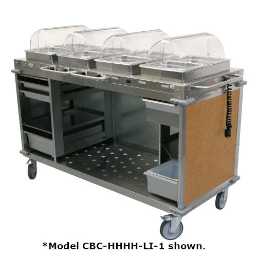 Cadco CBC-HHHH-L1-4 Electric MobileServ Hot Food Buffet Cart with 4