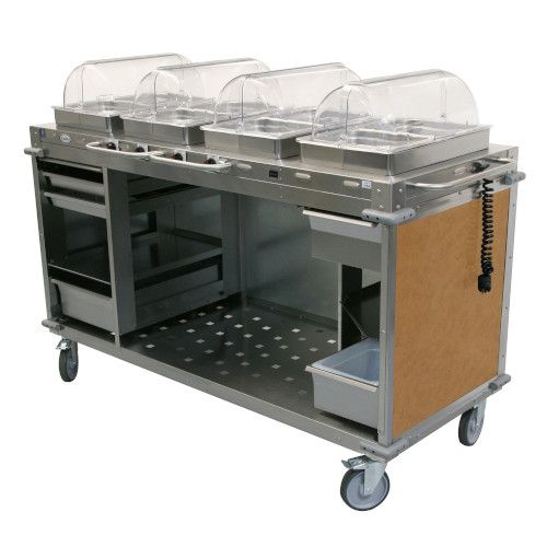 Cadco CBC-HHHH-L1 Electric MobileServ Hot Food Buffet Cart - 4 Buffet Servers