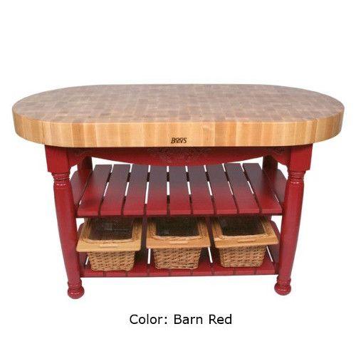 John Boos CU-HAR60-N Harvest Table Oval Butcher Block 30