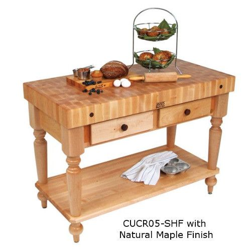 John Boos CUCR05-SHF Cucina Rustica Butcher Block Work Table with Shelf 48