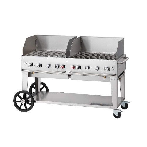 Crown Verity CV-MCB-60-SI-BULK-WGP LP Mobile Outdoor Grill with Wind Guards
