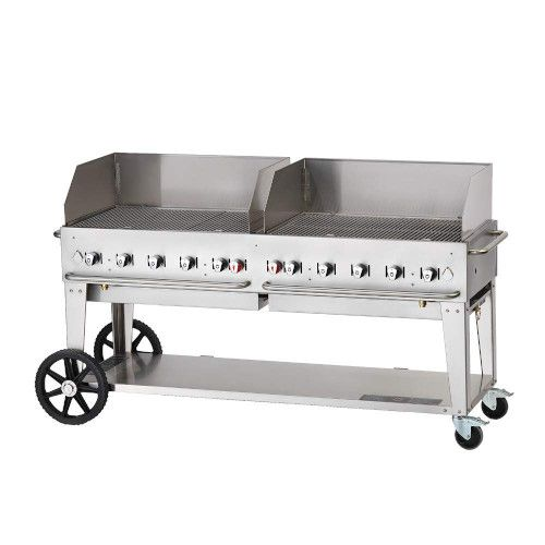 Crown Verity CV-MCB-72-SI-BULK-WGP LP Mobile Outdoor Grill with Wind Guards