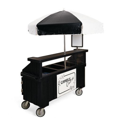 Cambro CVC72110 Camcruiser Vending Cart and Kiosk (Black with Black and White Umbrella)