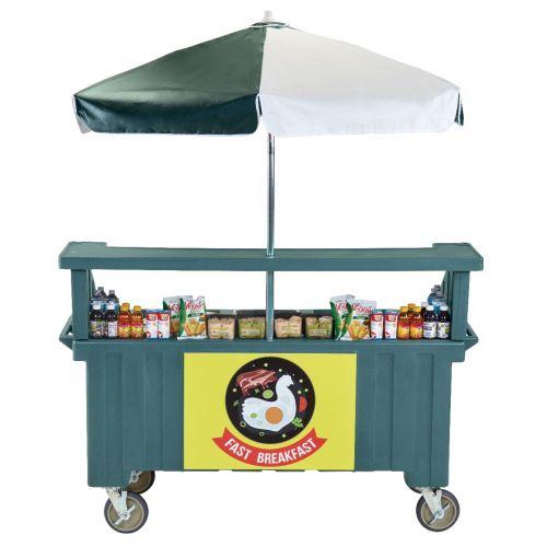 Cambro CVC724192 Camcruiser Four Well Vending Cart and Kiosk (Granite Green with Green and White Umbrella)