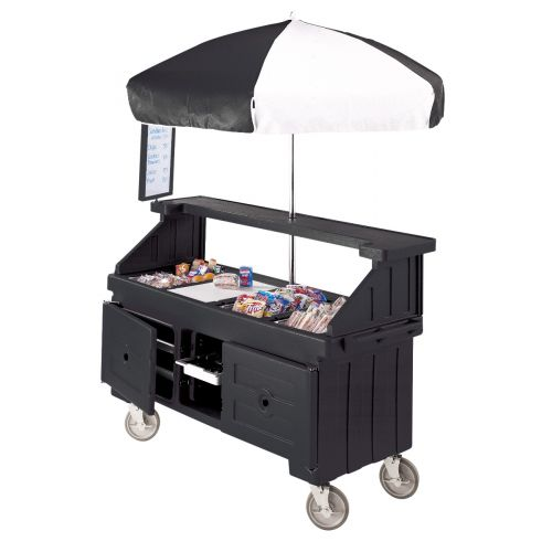 Cambro CVC724110 Camcruiser Four Well Vending Cart and Kiosk (Black with Black and White Umbrella)