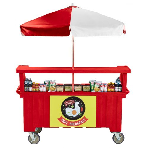Cambro CVC724158 Camcruiser Four Well Vending Cart and Kiosk (Hot Red with Red and White Umbrella)