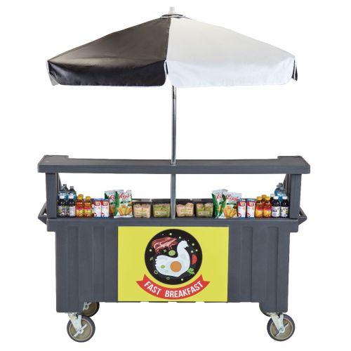 Cambro CVC724191 Camcruiser Four Well Vending Cart and Kiosk (Granite Gray with Black and White Umbrella)