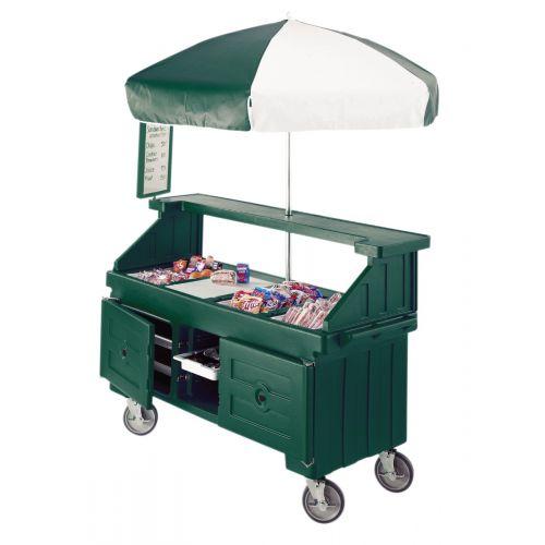 Cambro CVC724519 Camcruiser Four Well Vending Cart and Kiosk (Kentucky Green with Green and White Umbrella)