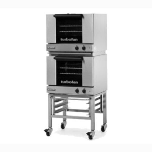 Moffat E22M3/2C Double Stacked Electric TurboFan Convection Oven with Casters