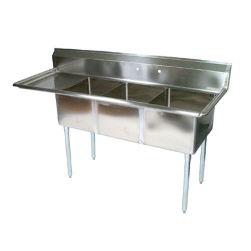 John Boos E3S8-15-14L15 Three-Compartment E-Series Sink with 15