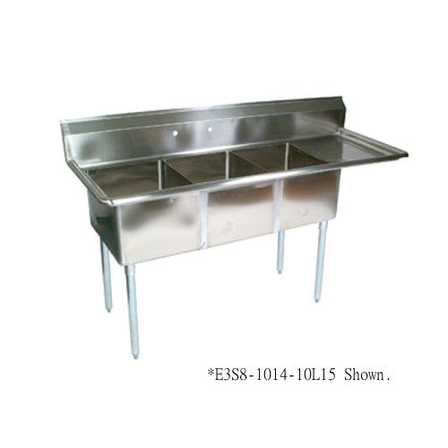 John Boos E3S8-1014-10R15 Three-Compartment E-Series Sink with 15