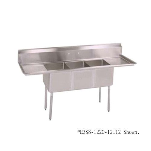 John Boos E3S8-18-12T18 Three-Compartment E-Series Sink with Left and Right Drainboards