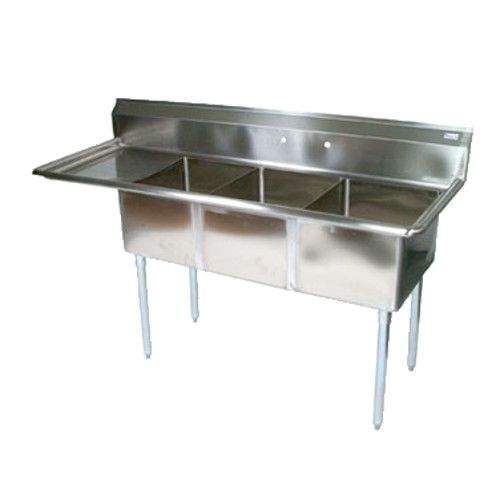 John Boos E3S8-18-12L18 Three-Compartment E-Series Sink with 18