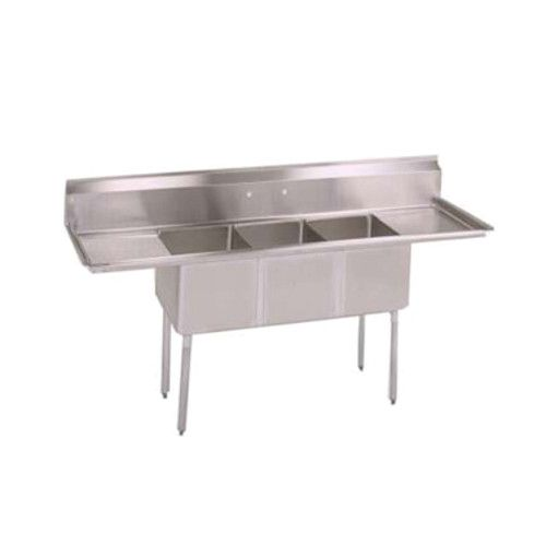 John Boos E3S8-1620-12T18 Three-Compartment E-Series Sink with 18