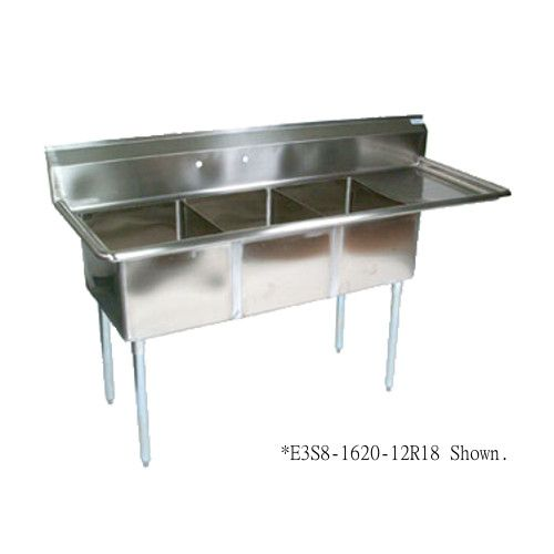 John Boos E3S8-1824-14R24 Three-Compartment E-Series Sink with 24