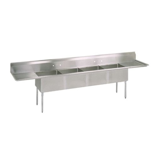 John Boos E4S8-1620-14T18 Four-Compartment E-Series Sink with Two 18