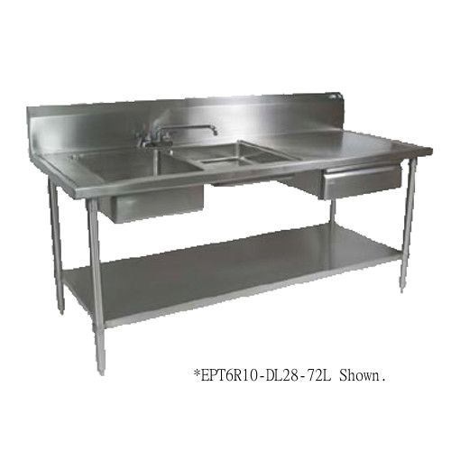 John Boos EPT6R10-DL2B-96R Prep Table Sink with Two Sink Compartments at Right End