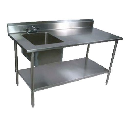 John Boos EPT8R5-3072SSK-L Work Table with Prep Sink and Adjustable Stainless Steel Undershelf