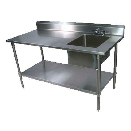 John Boos EPT8R5-3060GSK-R Work Table with Prep Sink and Adjustable Galvanized Undershelf