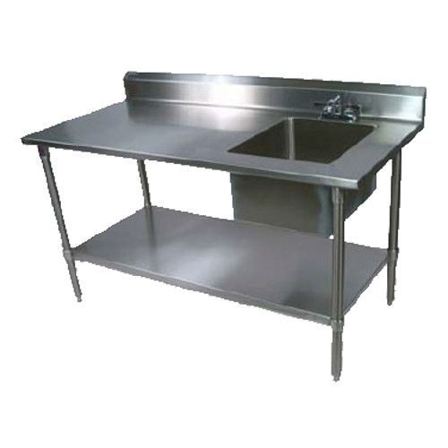 John Boos EPT8R5-3060SSK-R Work Table with Prep Sink and Adjustable Stainless Steel Undershelf