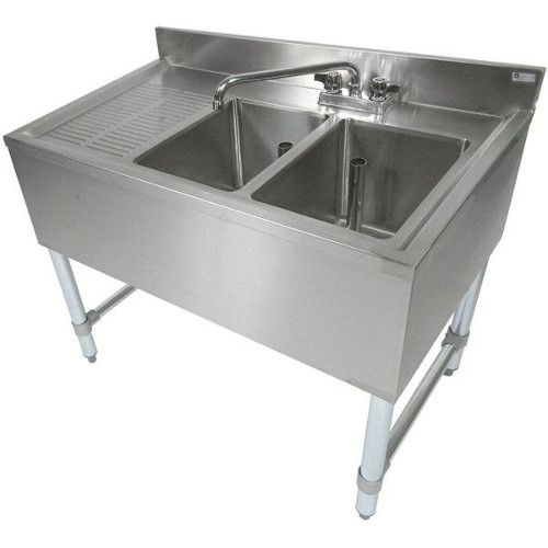 John Boos EUB2S36SL-1LD Slim-Line Underbar Two Compartment Sink with 12