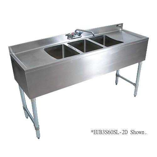 John Boos EUB3S60SL-1LD Three-Compartment Slim-Line Underbar Sink with 25