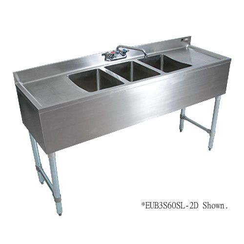 John Boos EUB3S60SL-1RD Three-Compartment Slim-Line Underbar Sink with Splash Mount Faucet